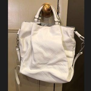 White real leather women's zara bag.